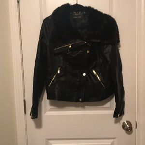 Black River Leather Jacket with fur detail
